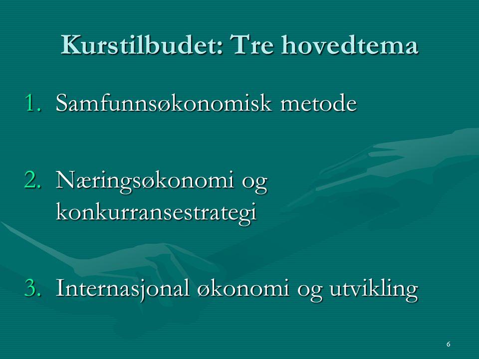 6 Kurstilbudet: Tre hovedtema 1.Samfunnsøkonomisk metode 2.Næringsøkonomi og konkurransestrategi 3.Internasjonal økonomi og utvikling