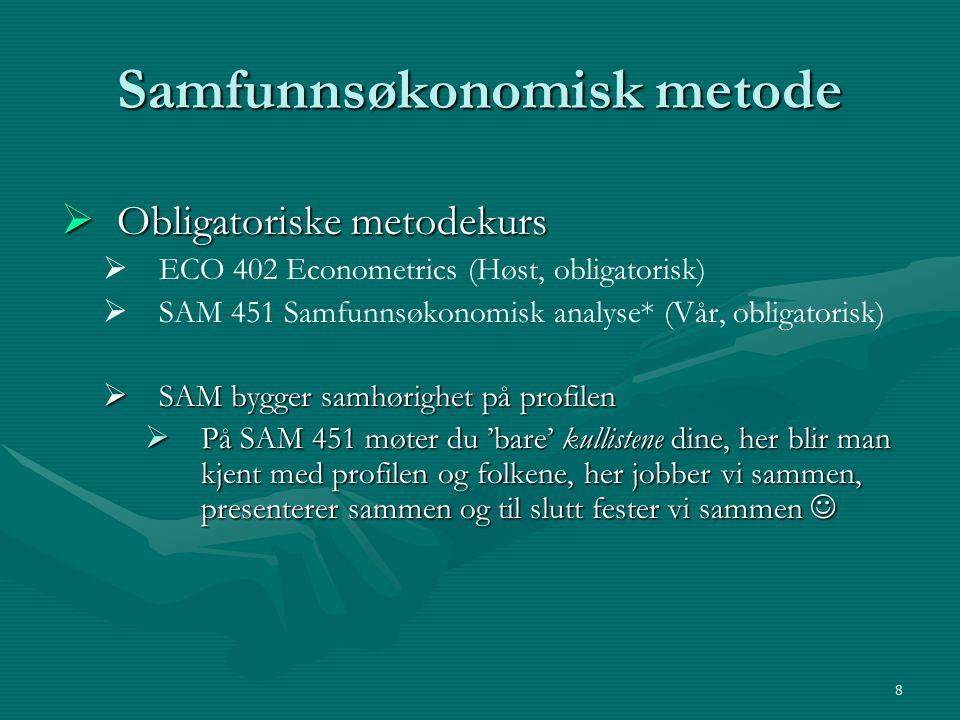 Samfunnsøkonomisk metode  Obligatoriske metodekurs   ECO 402 Econometrics (Høst, obligatorisk)   SAM 451 Samfunnsøkonomisk analyse* (Vår, obligat