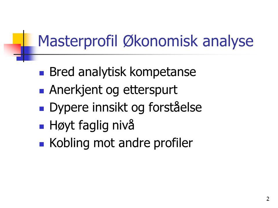 2 Masterprofil Økonomisk analyse Bred analytisk kompetanse Anerkjent og etterspurt Dypere innsikt og forståelse Høyt faglig nivå Kobling mot andre pro