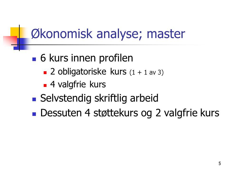 5 Økonomisk analyse; master 6 kurs innen profilen 2 obligatoriske kurs (1 + 1 av 3) 4 valgfrie kurs Selvstendig skriftlig arbeid Dessuten 4 støttekurs