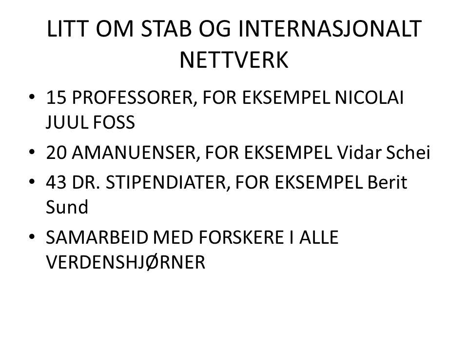 LITT OM STAB OG INTERNASJONALT NETTVERK 15 PROFESSORER, FOR EKSEMPEL NICOLAI JUUL FOSS 20 AMANUENSER, FOR EKSEMPEL Vidar Schei 43 DR. STIPENDIATER, FO