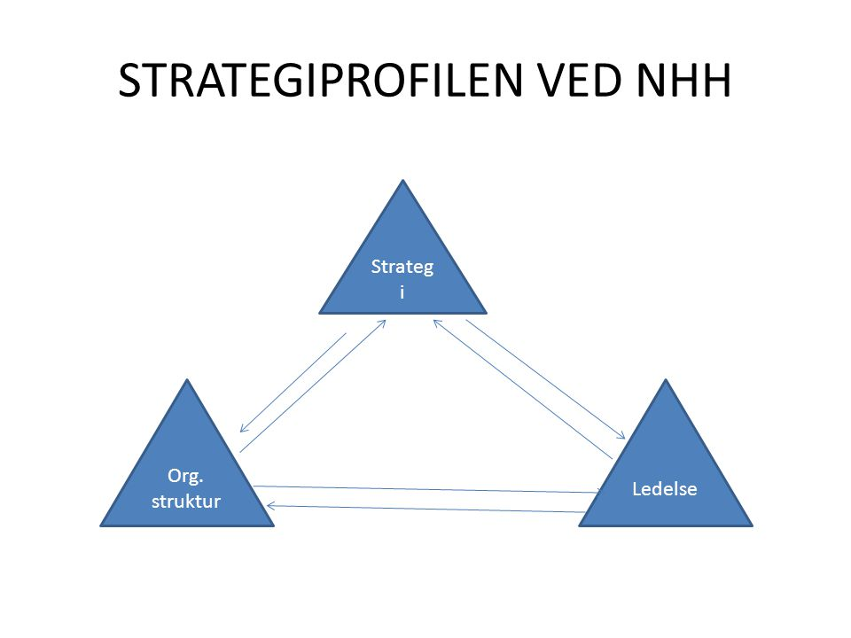STRATEGIPROFILEN VED NHH Strateg i Org. struktur Ledelse