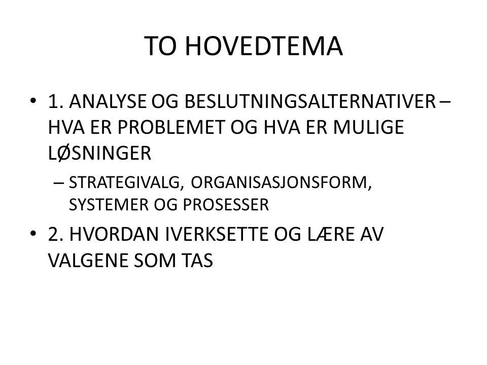TO HOVEDTEMA 1. ANALYSE OG BESLUTNINGSALTERNATIVER – HVA ER PROBLEMET OG HVA ER MULIGE LØSNINGER – STRATEGIVALG, ORGANISASJONSFORM, SYSTEMER OG PROSES