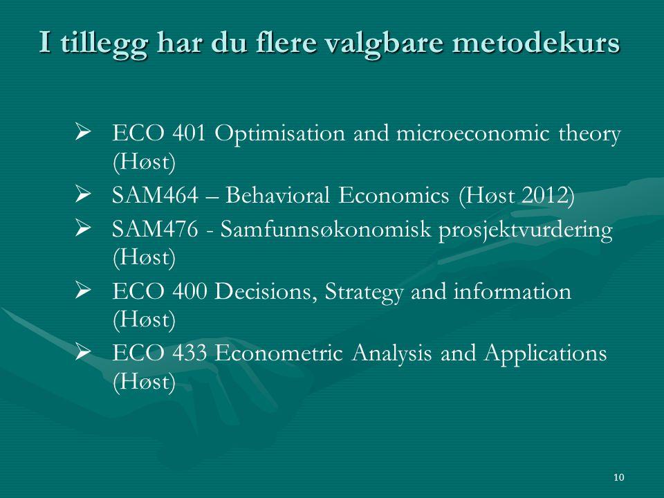 I tillegg har du flere valgbare metodekurs   ECO 401 Optimisation and microeconomic theory (Høst)   SAM464 – Behavioral Economics (Høst 2012)  