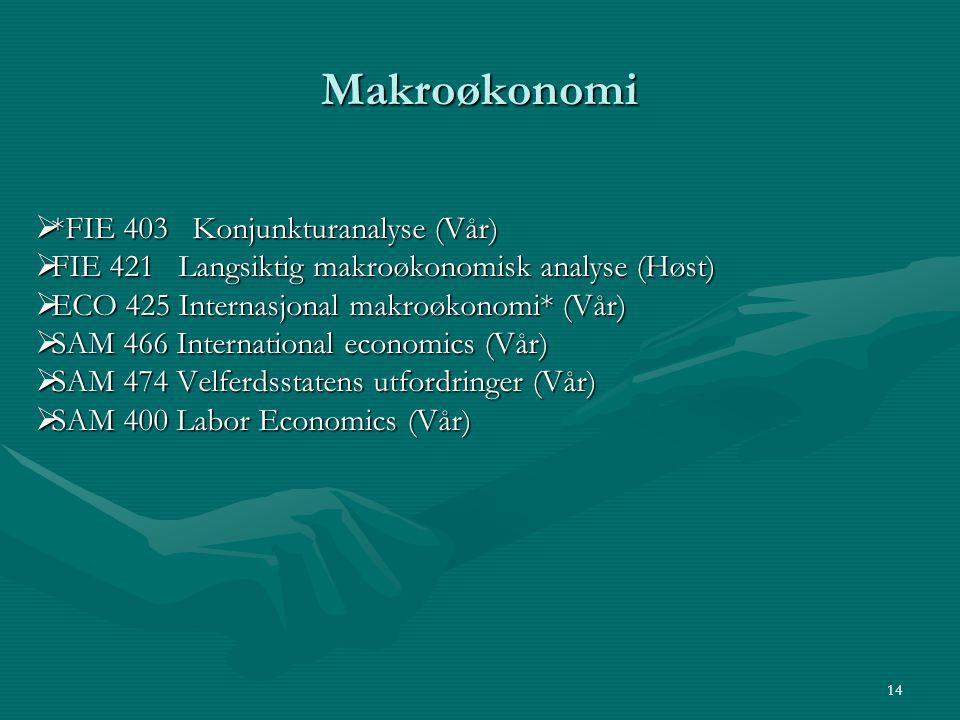 Makroøkonomi  *FIE 403 Konjunkturanalyse (Vår)  FIE 421 Langsiktig makroøkonomisk analyse (Høst)  ECO 425 Internasjonal makroøkonomi* (Vår)  SAM 4