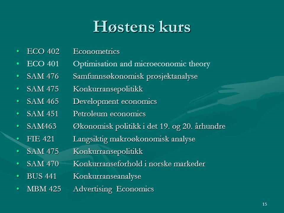 Høstens kurs ECO 402 EconometricsECO 402 Econometrics ECO 401 Optimisation and microeconomic theory SAM 476Samfunnsøkonomisk prosjektanalyseSAM 476Sam