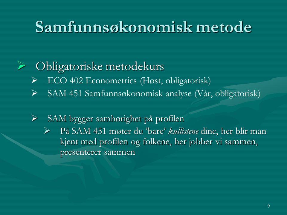 Samfunnsøkonomisk metode  Obligatoriske metodekurs   ECO 402 Econometrics (Høst, obligatorisk)   SAM 451 Samfunnsøkonomisk analyse (Vår, obligato