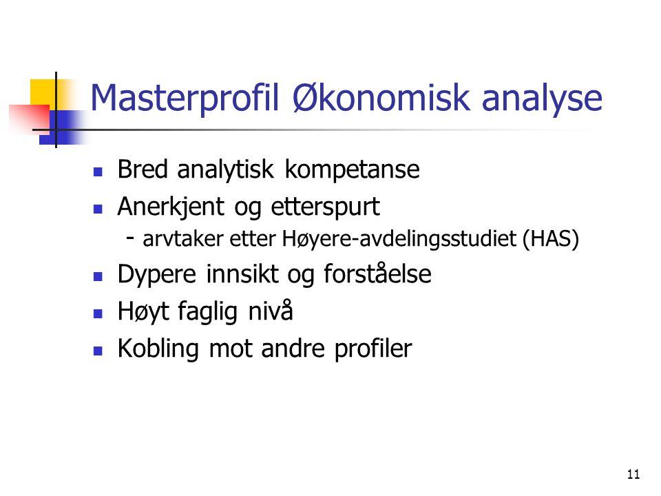11 Masterprofil Økonomisk analyse Bred analytisk kompetanse Anerkjent og etterspurt - arvtaker etter Høyere-avdelingsstudiet (HAS) Dypere innsikt og f