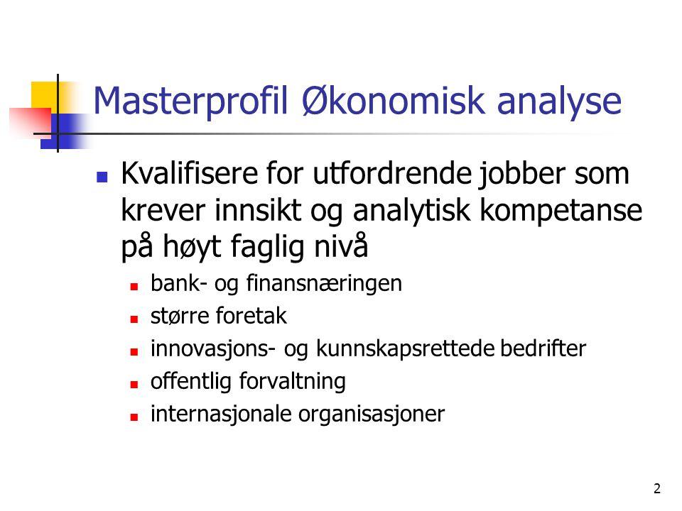 2 Masterprofil Økonomisk analyse Kvalifisere for utfordrende jobber som krever innsikt og analytisk kompetanse på høyt faglig nivå bank- og finansnæri