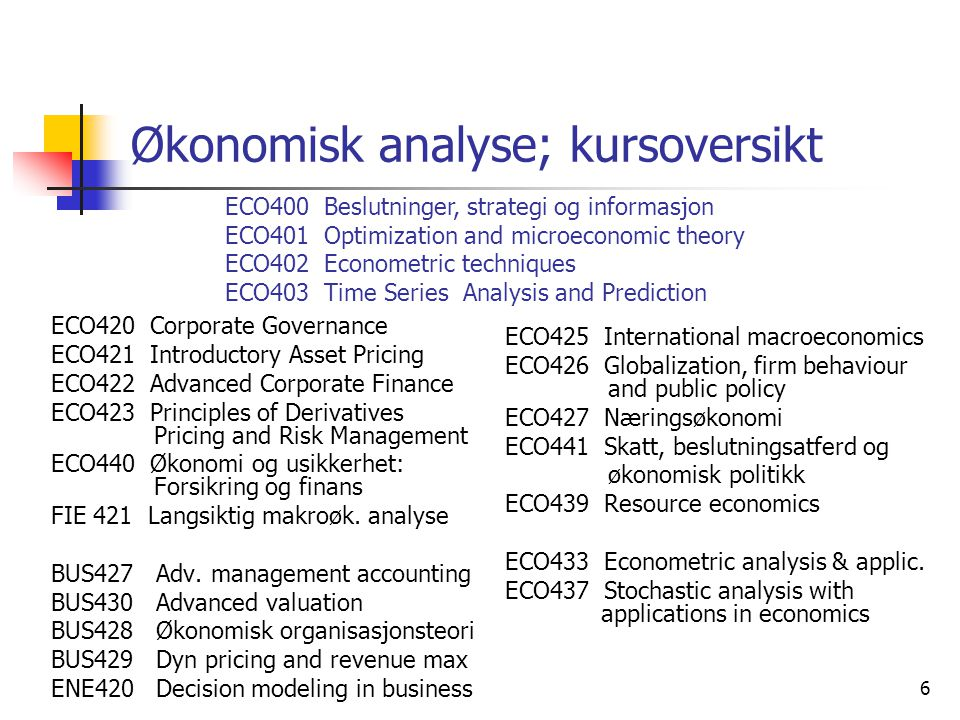 6 Økonomisk analyse; kursoversikt ECO420 Corporate Governance ECO421 Introductory Asset Pricing ECO422 Advanced Corporate Finance ECO423 Principles of Derivatives Pricing and Risk Management ECO440 Økonomi og usikkerhet: Forsikring og finans FIE 421 Langsiktig makroøk.