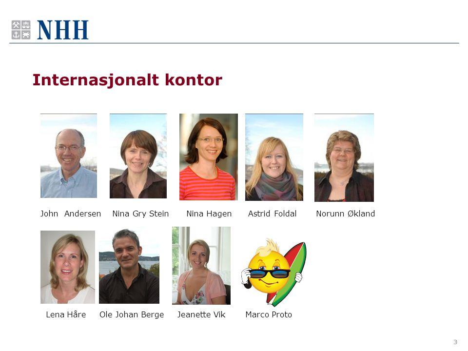 3 Internasjonalt kontor John Andersen Nina Gry Stein Nina Hagen Astrid Foldal Norunn Økland Lena Håre Ole Johan Berge Jeanette Vik Marco Proto