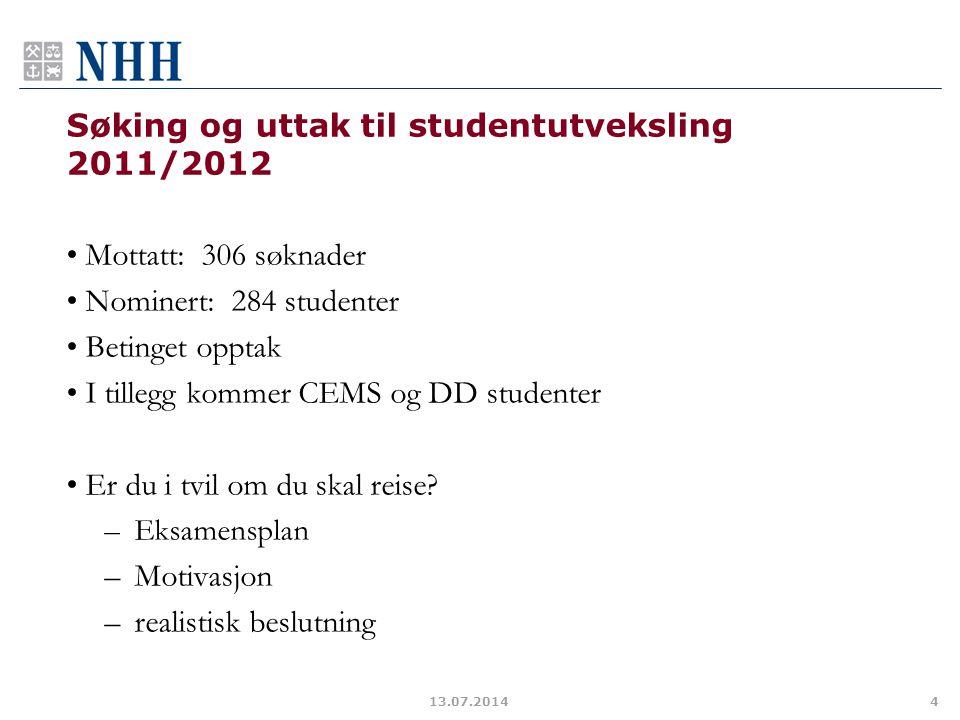 Søking og uttak til studentutveksling 2011/2012 Mottatt: 306 søknader Nominert: 284 studenter Betinget opptak I tillegg kommer CEMS og DD studenter Er