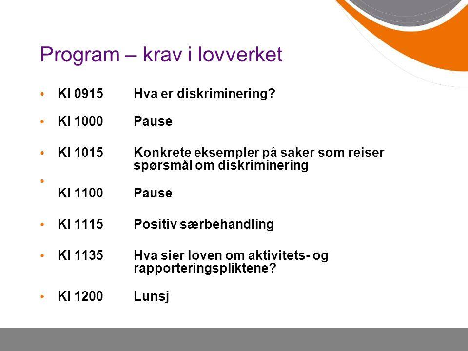 Program – krav i lovverket Kl 0915Hva er diskriminering.