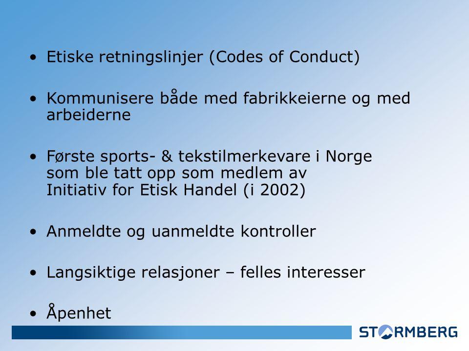 Etiske retningslinjer (Codes of Conduct) Kommunisere både med fabrikkeierne og med arbeiderne Første sports- & tekstilmerkevare i Norge som ble tatt opp som medlem av Initiativ for Etisk Handel (i 2002) Anmeldte og uanmeldte kontroller Langsiktige relasjoner – felles interesser Åpenhet