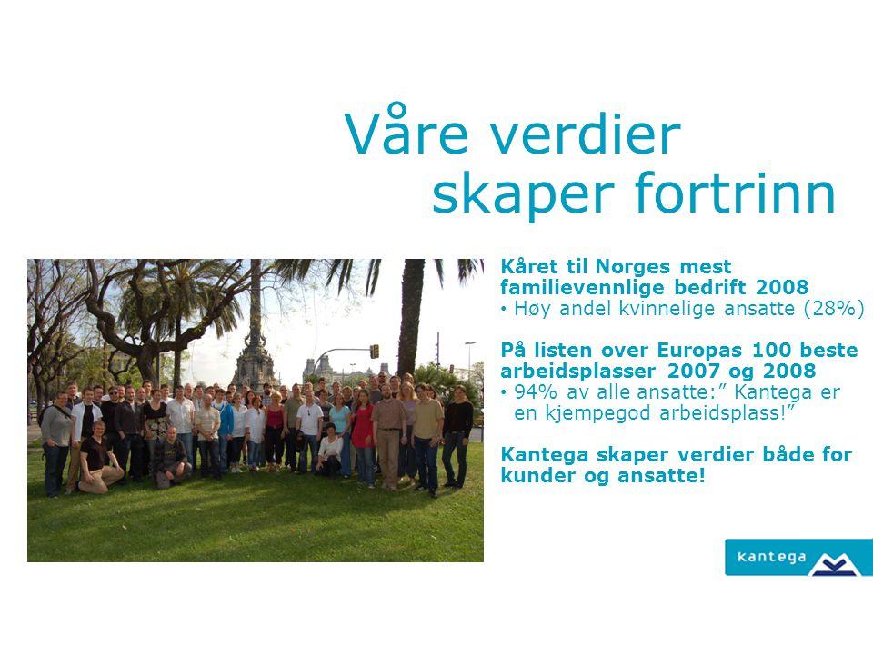 Våre verdier skaper fortrinn Kåret til Norges mest familievennlige bedrift 2008 Høy andel kvinnelige ansatte (28%) På listen over Europas 100 beste ar