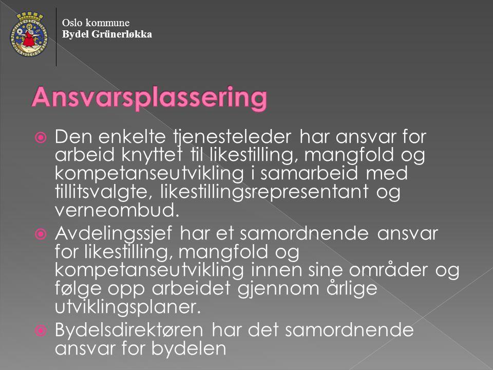 Oslo kommune Bydel Grünerløkka  Den enkelte tjenesteleder har ansvar for arbeid knyttet til likestilling, mangfold og kompetanseutvikling i samarbeid med tillitsvalgte, likestillingsrepresentant og verneombud.
