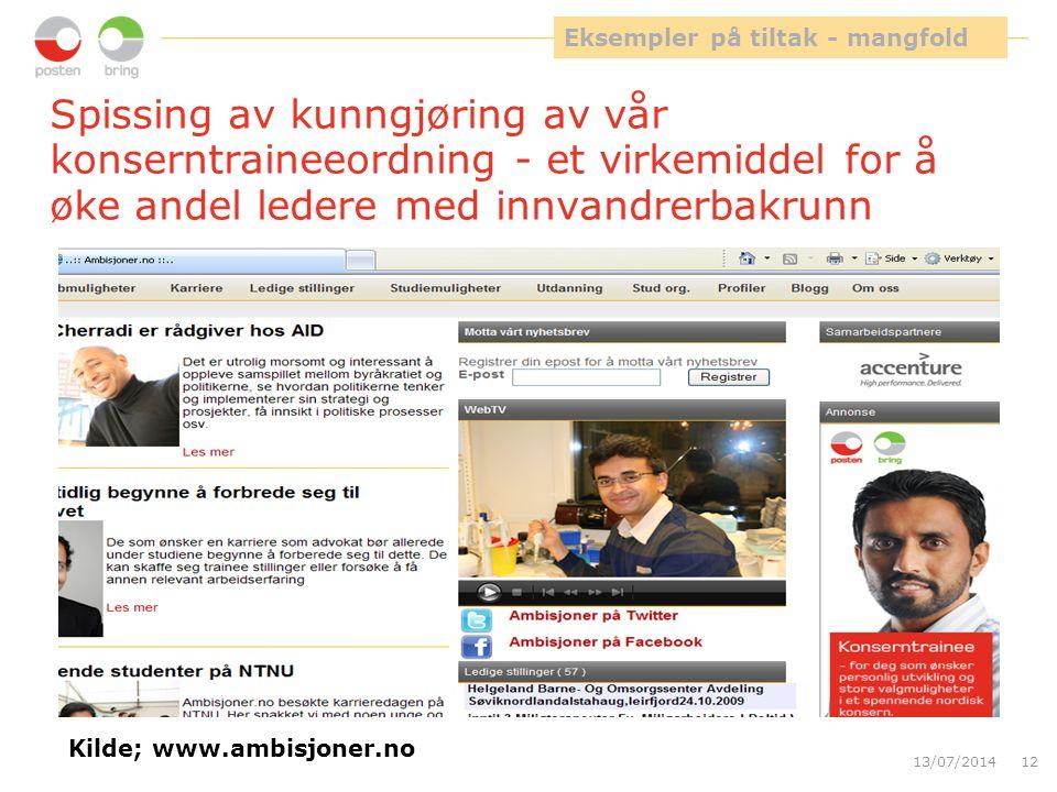 13/07/201412 Spissing av kunngjøring av vår konserntraineeordning - et virkemiddel for å øke andel ledere med innvandrerbakrunn Eksempler på tiltak - mangfold Kilde; www.ambisjoner.no