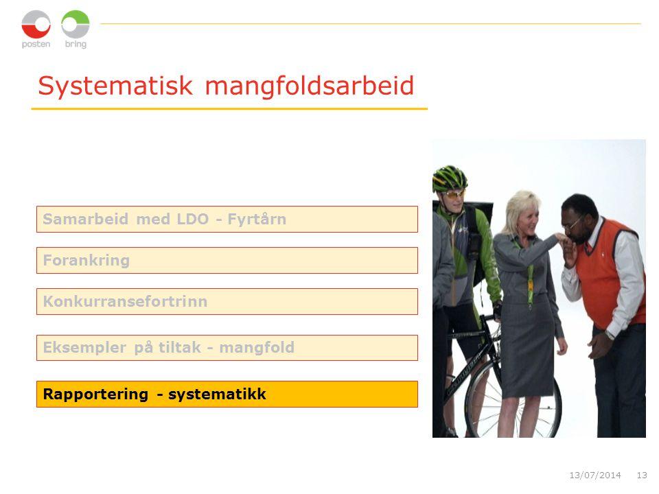 Systematisk mangfoldsarbeid 13/07/201413 Rapportering - systematikk Forankring Konkurransefortrinn Eksempler på tiltak - mangfold Samarbeid med LDO - Fyrtårn