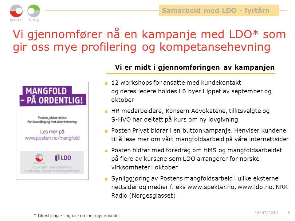 13/07/20143 Vi gjennomfører nå en kampanje med LDO* som gir oss mye profilering og kompetansehevning  12 workshops for ansatte med kundekontakt og de