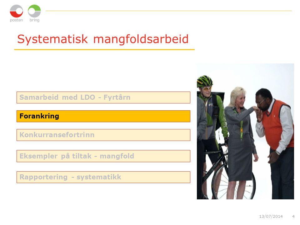 Systematisk mangfoldsarbeid 13/07/20144 Forankring Konkurransefortrinn Samarbeid med LDO - Fyrtårn Eksempler på tiltak - mangfold Rapportering - systematikk