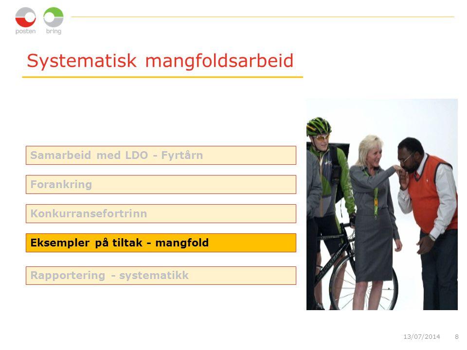 Systematisk mangfoldsarbeid 13/07/20148 Eksempler på tiltak - mangfold Forankring Konkurransefortrinn Rapportering - systematikk Samarbeid med LDO - F