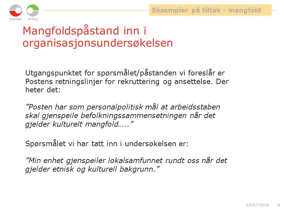 """Mangfoldspåstand inn i organisasjonsundersøkelsen 13/07/20149 Spørsmålet vi har tatt inn i undersøkelsen er: """"Min enhet gjenspeiler lokalsamfunnet run"""