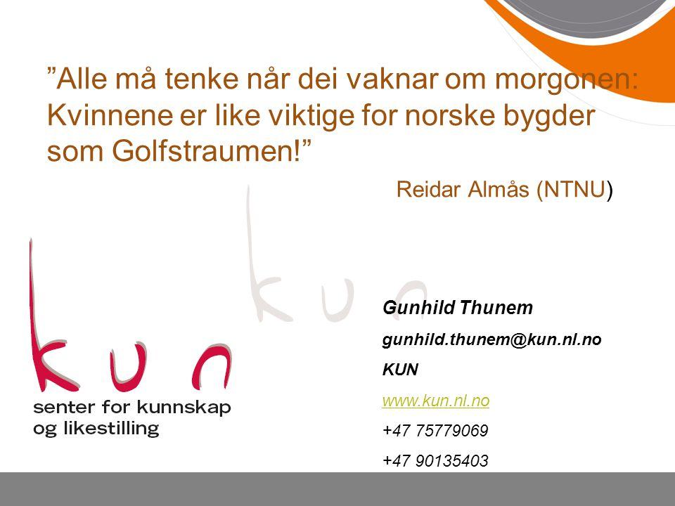 Gunhild Thunem gunhild.thunem@kun.nl.no KUN www.kun.nl.no +47 75779069 +47 90135403 Alle må tenke når dei vaknar om morgonen: Kvinnene er like viktige for norske bygder som Golfstraumen! Reidar Almås (NTNU)