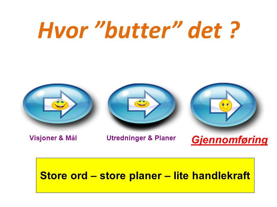 """Hvor """"butter"""" det ? Visjoner & MålUtredninger & Planer Gjennomføring Store ord – store planer – lite handlekraft"""