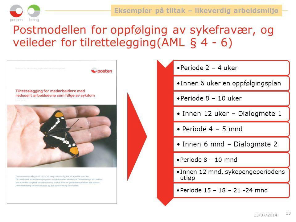 Postmodellen for oppfølging av sykefravær, og veileder for tilrettelegging(AML § 4 - 6) 13/07/2014 13 Eksempler på tiltak – likeverdig arbeidsmiljø Pe