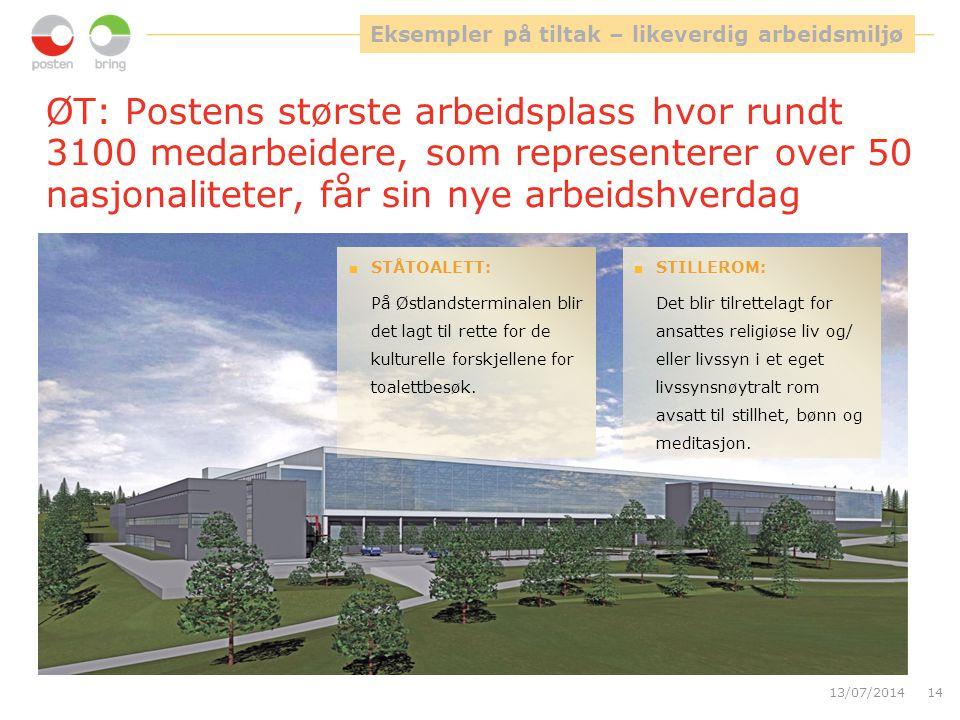 ØT: Postens største arbeidsplass hvor rundt 3100 medarbeidere, som representerer over 50 nasjonaliteter, får sin nye arbeidshverdag 13/07/201414  STI