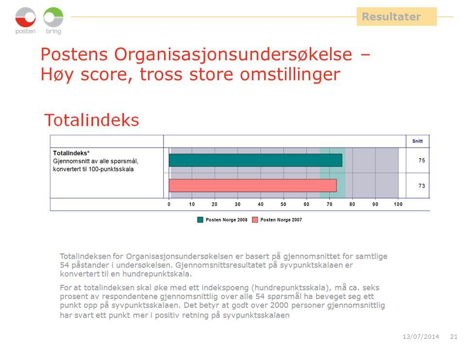 Postens Organisasjonsundersøkelse – Høy score, tross store omstillinger 13/07/201421 Resultater