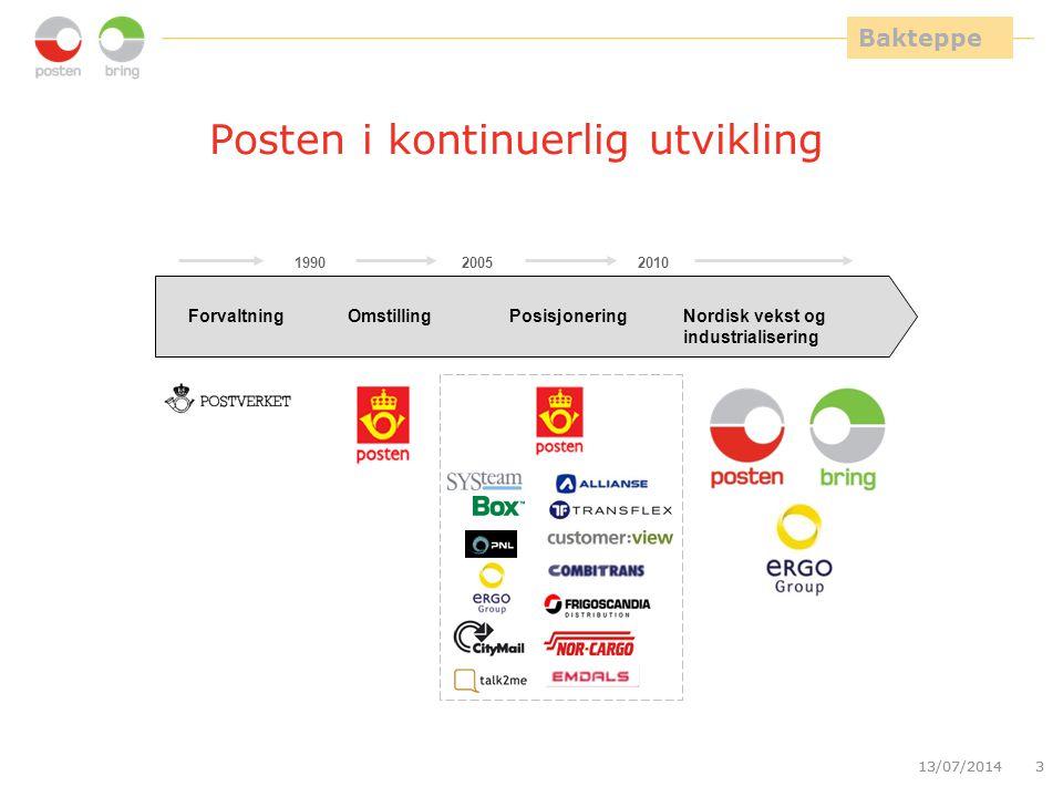 13/07/20143 3 Posten i kontinuerlig utvikling ForvaltningOmstillingPosisjonering Nordisk vekst og industrialisering 199020052010 Bakteppe
