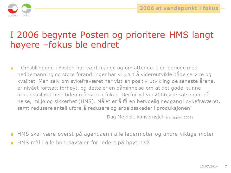 """13.07.20147 I 2006 begynte Posten og prioritere HMS langt høyere –fokus ble endret  """" Omstillingene i Posten har vært mange og omfattende. I en perio"""