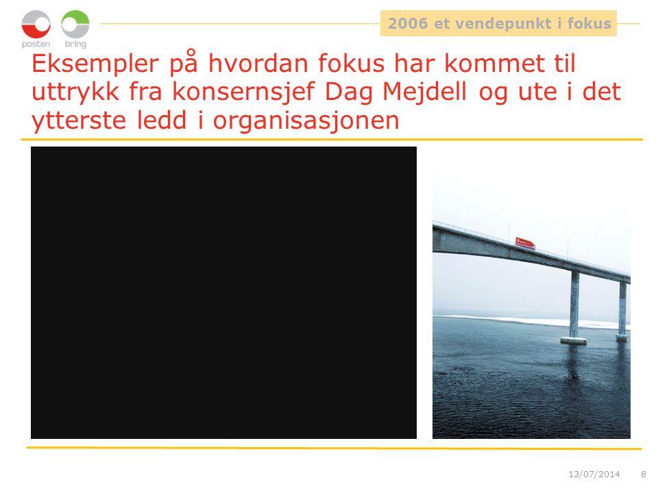 Eksempler på hvordan fokus har kommet til uttrykk fra konsernsjef Dag Mejdell og ute i det ytterste ledd i organisasjonen 13/07/20148 2006 et vendepun