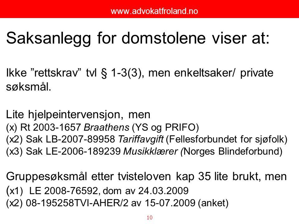"""10 www.advokatfroland.no Saksanlegg for domstolene viser at: Ikke """"rettskrav"""" tvl § 1-3(3), men enkeltsaker/ private søksmål. Lite hjelpeintervensjon,"""