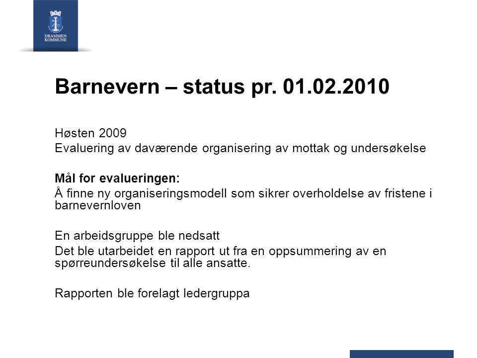 Barnevern – status pr. 01.02.2010 Høsten 2009 Evaluering av daværende organisering av mottak og undersøkelse Mål for evalueringen: Å finne ny organise