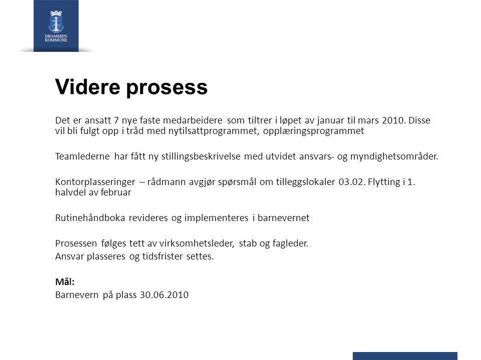 Videre prosess Det er ansatt 7 nye faste medarbeidere som tiltrer i løpet av januar til mars 2010. Disse vil bli fulgt opp i tråd med nytilsattprogram