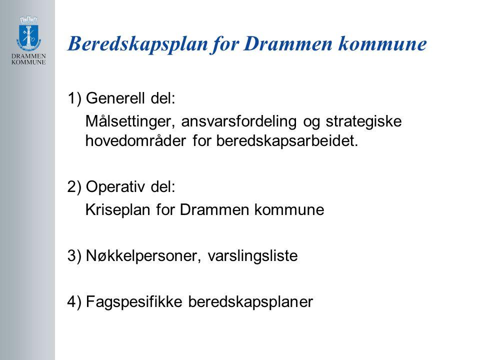 Beredskapsplan for Drammen kommune 1) Generell del: Målsettinger, ansvarsfordeling og strategiske hovedområder for beredskapsarbeidet. 2) Operativ del