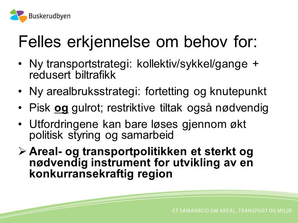 Felles erkjennelse om behov for: Ny transportstrategi: kollektiv/sykkel/gange + redusert biltrafikk Ny arealbruksstrategi: fortetting og knutepunkt Pi