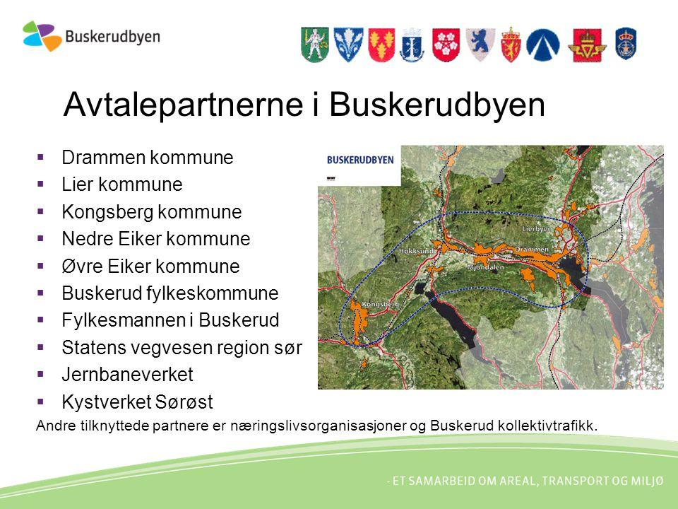 Avtalepartnerne i Buskerudbyen  Drammen kommune  Lier kommune  Kongsberg kommune  Nedre Eiker kommune  Øvre Eiker kommune  Buskerud fylkeskommun
