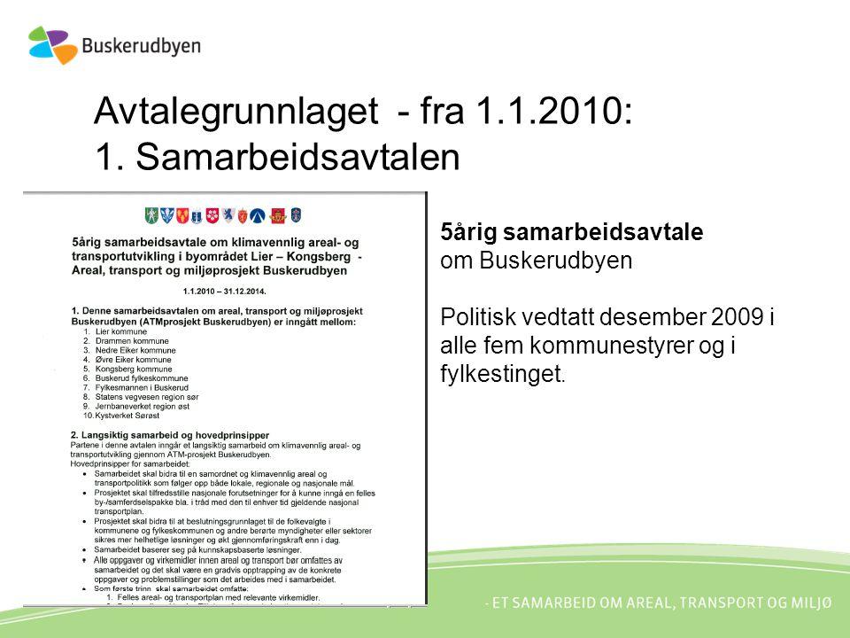 Avtalegrunnlaget - fra 1.1.2010: 1. Samarbeidsavtalen 5årig samarbeidsavtale om Buskerudbyen Politisk vedtatt desember 2009 i alle fem kommunestyrer o