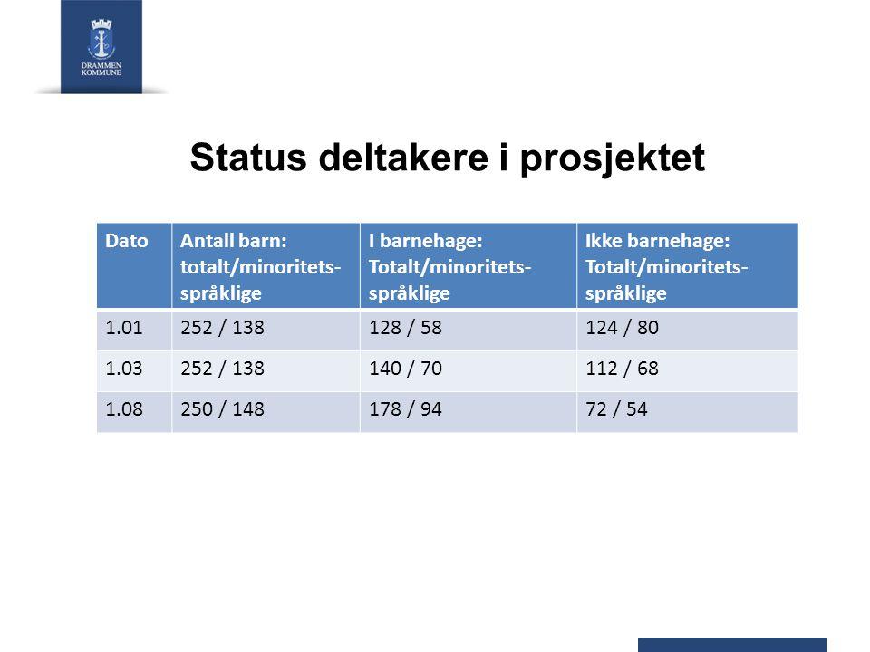 Status deltakere i prosjektet DatoAntall barn: totalt/minoritets- språklige I barnehage: Totalt/minoritets- språklige Ikke barnehage: Totalt/minoritets- språklige 1.01252 / 138128 / 58124 / 80 1.03252 / 138140 / 70112 / 68 1.08250 / 148178 / 9472 / 54