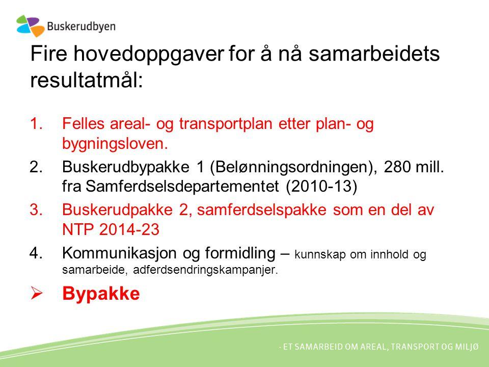 Fire hovedoppgaver for å nå samarbeidets resultatmål: 1.Felles areal- og transportplan etter plan- og bygningsloven.