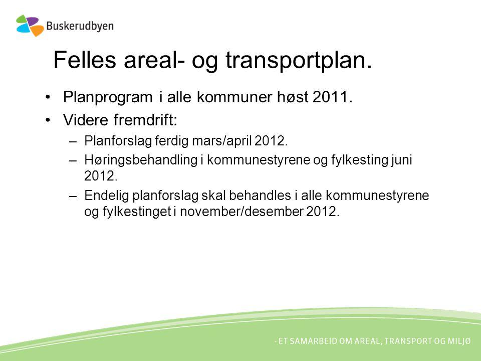Planprogram i alle kommuner høst 2011. Videre fremdrift: –Planforslag ferdig mars/april 2012.