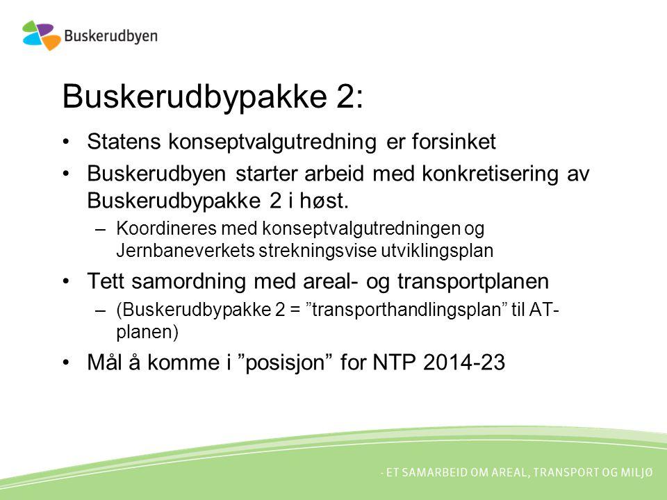 Buskerudbypakke 2: Statens konseptvalgutredning er forsinket Buskerudbyen starter arbeid med konkretisering av Buskerudbypakke 2 i høst.