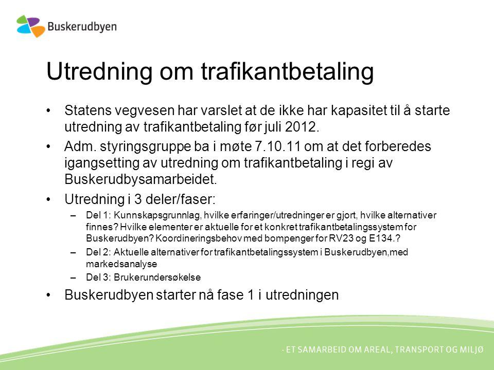 Utredning om trafikantbetaling Statens vegvesen har varslet at de ikke har kapasitet til å starte utredning av trafikantbetaling før juli 2012.