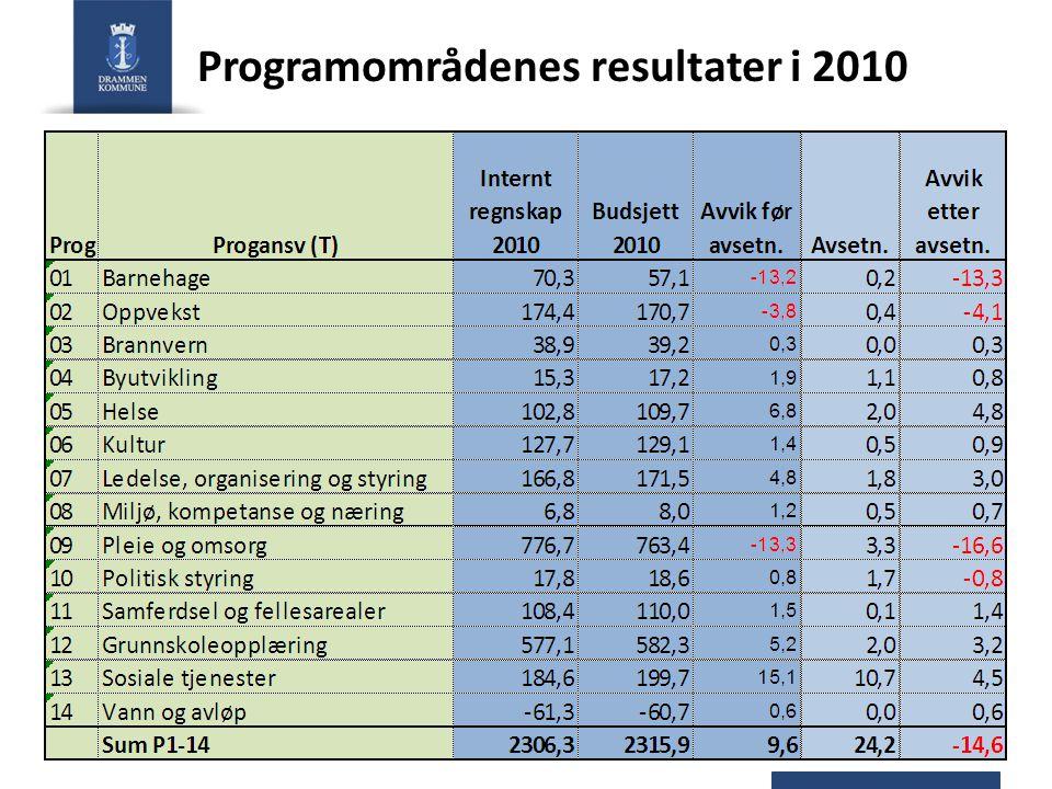 Programområdenes resultater i 2010