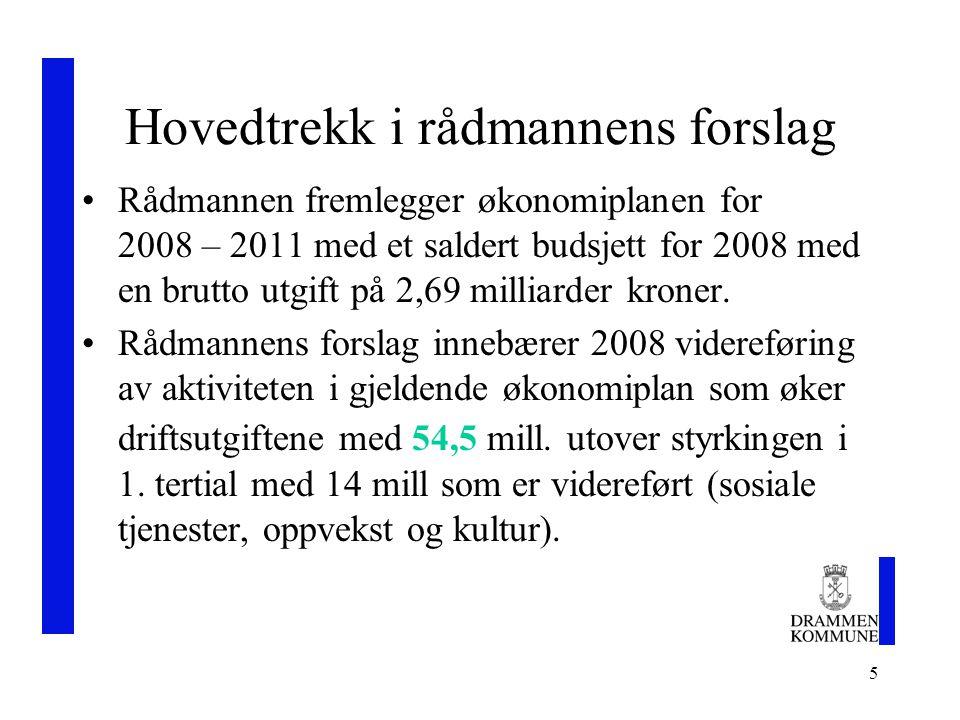 5 Hovedtrekk i rådmannens forslag Rådmannen fremlegger økonomiplanen for 2008 – 2011 med et saldert budsjett for 2008 med en brutto utgift på 2,69 milliarder kroner.