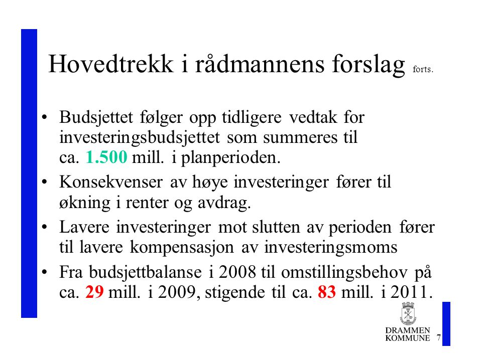 18 Økonomiplan 2008 -2011 Rådmannens forslag 6.nov.