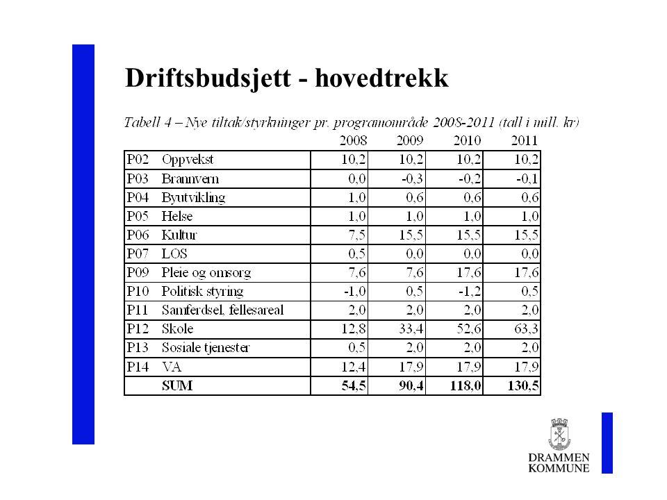 9 Driftsbudsjett - hovedtrekk